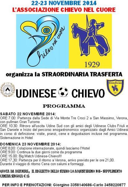 UDINESE-CHIEVO 22-23 NOV 2014 PROGRAMMA